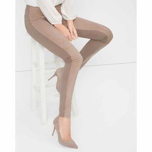 WHBM Mauve/Tan Leather Suede The Leggings 10